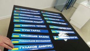 наклейки с именами участников