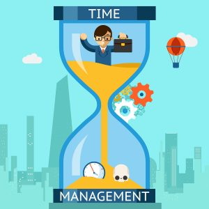 Business time management. Businessman sinking in hourglass. Finance clock, concept deadline. Vector illustration