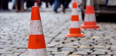 traffic cone on the sett
