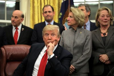 U.S. President Donald Trump attends a signing ceremony for the Interdict Act into law, to provide Customs and Border Protection agents with the latest screening technology on the fight against the opioid crisis, in the Oval Office of the White House in Washington D.C., U.S., January 10, 2018. REUTERS/Carlos Barria